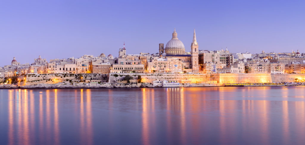 St Pauls Anglican Cathedral and Carmelite Church at Valletta Malta